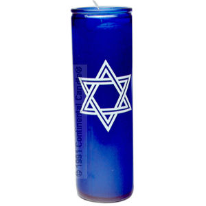 STAR OF DAVID CANDLE BLUE 12 TALL