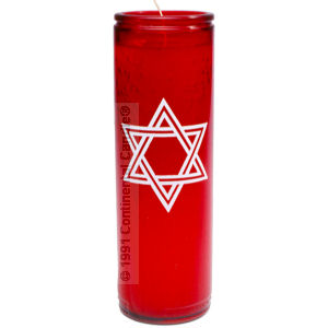 STAR OF DAVID CANDLE RED  12 TALL