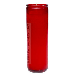PAINTED RED CANDLE      W 12 TALL